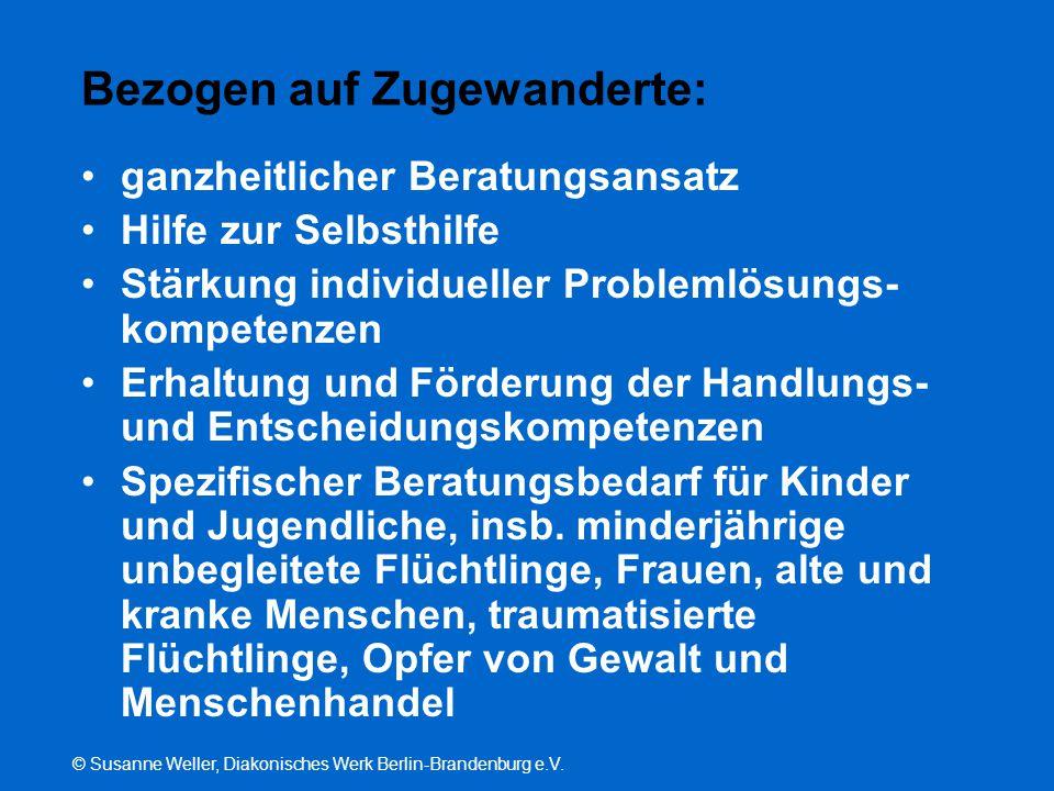 © Susanne Weller, Diakonisches Werk Berlin-Brandenburg e.V. Bezogen auf Zugewanderte: ganzheitlicher Beratungsansatz Hilfe zur Selbsthilfe Stärkung in