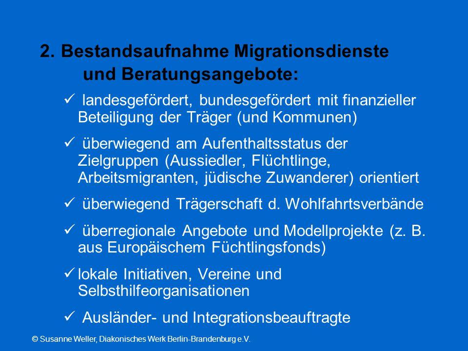 © Susanne Weller, Diakonisches Werk Berlin-Brandenburg e.V. 2. Bestandsaufnahme Migrationsdienste und Beratungsangebote: landesgefördert, bundesgeförd
