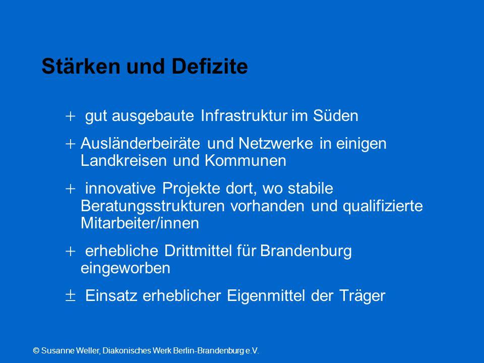 © Susanne Weller, Diakonisches Werk Berlin-Brandenburg e.V. Stärken und Defizite  gut ausgebaute Infrastruktur im Süden  Ausländerbeiräte und Netzwe