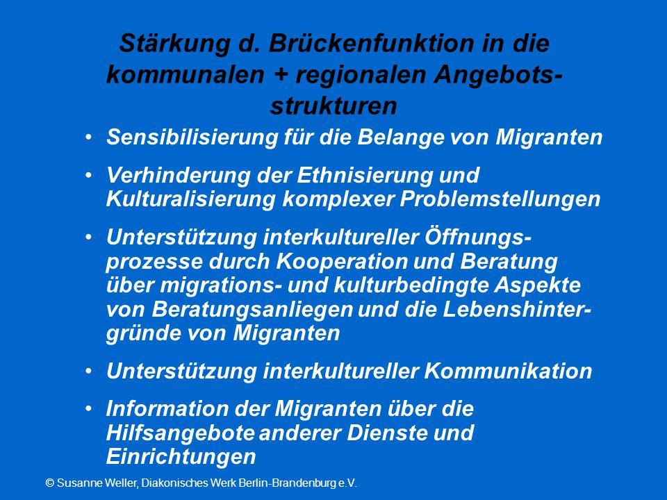 © Susanne Weller, Diakonisches Werk Berlin-Brandenburg e.V. Stärkung d. Brückenfunktion in die kommunalen + regionalen Angebots- strukturen Sensibilis