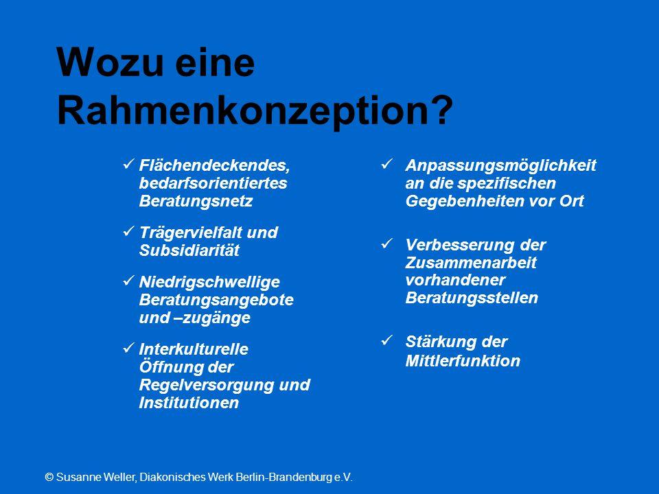 © Susanne Weller, Diakonisches Werk Berlin-Brandenburg e.V. Wozu eine Rahmenkonzeption? Flächendeckendes, bedarfsorientiertes Beratungsnetz Trägerviel