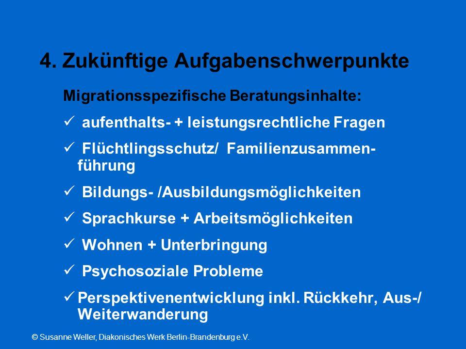 © Susanne Weller, Diakonisches Werk Berlin-Brandenburg e.V. 4. Zukünftige Aufgabenschwerpunkte Migrationsspezifische Beratungsinhalte: aufenthalts- +