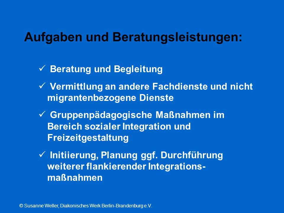 © Susanne Weller, Diakonisches Werk Berlin-Brandenburg e.V. Aufgaben und Beratungsleistungen: Beratung und Begleitung Vermittlung an andere Fachdienst