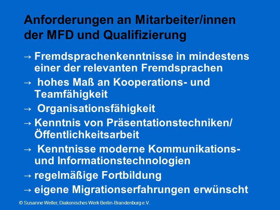 © Susanne Weller, Diakonisches Werk Berlin-Brandenburg e.V. Anforderungen an Mitarbeiter/innen der MFD und Qualifizierung → Fremdsprachenkenntnisse in