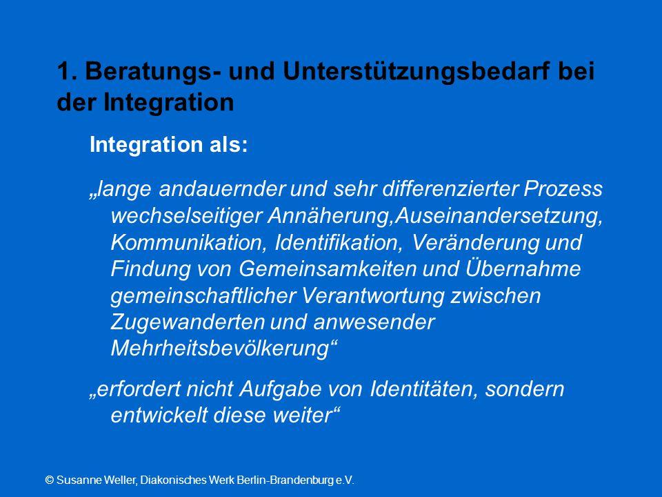 """© Susanne Weller, Diakonisches Werk Berlin-Brandenburg e.V. 1. Beratungs- und Unterstützungsbedarf bei der Integration Integration als: """" lange andaue"""