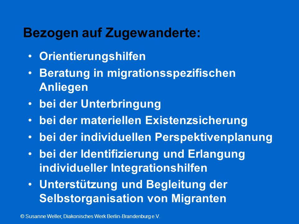 © Susanne Weller, Diakonisches Werk Berlin-Brandenburg e.V. Bezogen auf Zugewanderte: Orientierungshilfen Beratung in migrationsspezifischen Anliegen
