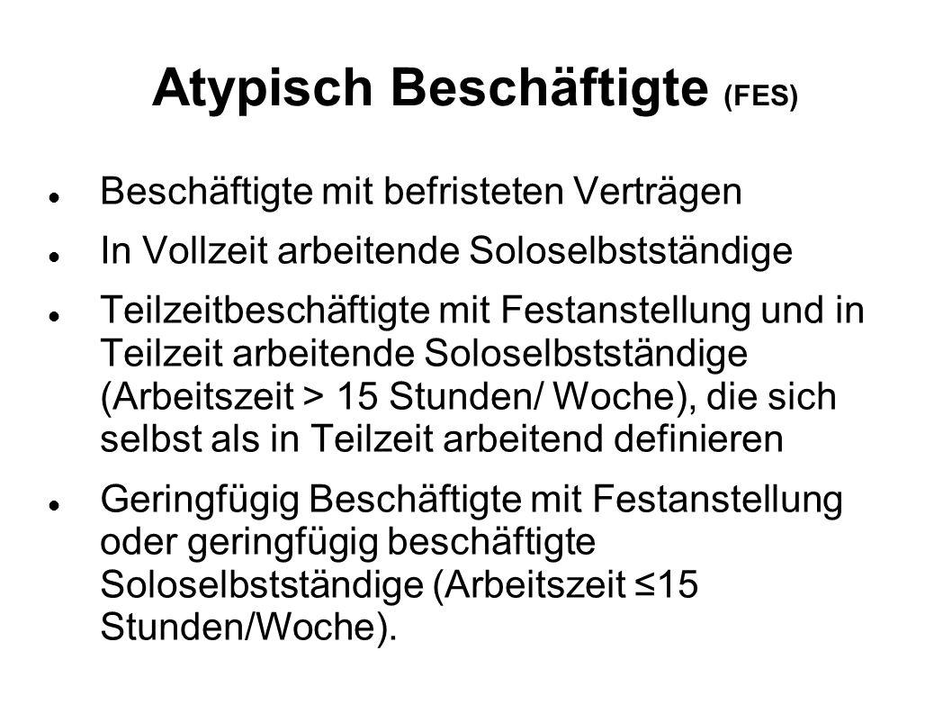 Atypisch Beschäftigte (FES) Beschäftigte mit befristeten Verträgen In Vollzeit arbeitende Soloselbstständige Teilzeitbeschäftigte mit Festanstellung u