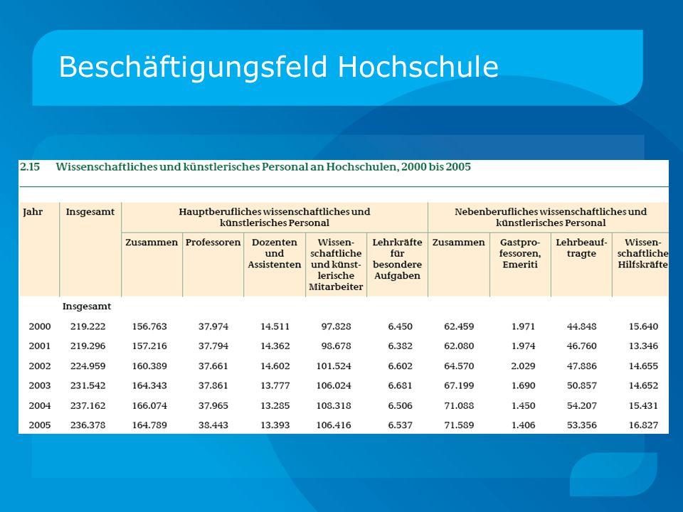 Beschäftigungsfeld Hochschule Ohne Klinikpersonal; Quelle: Statistisches Bundesamt