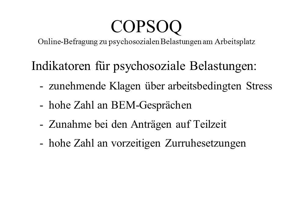 COPSOQ Online-Befragung zu psychosozialen Belastungen am Arbeitsplatz Indikatoren für psychosoziale Belastungen: -zunehmende Klagen über arbeitsbeding