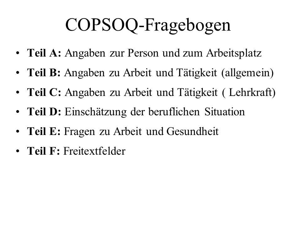 COPSOQ-Fragebogen Teil A: Angaben zur Person und zum Arbeitsplatz Teil B: Angaben zu Arbeit und Tätigkeit (allgemein) Teil C: Angaben zu Arbeit und Tä