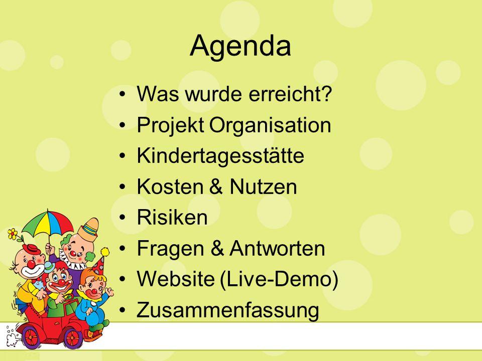 Agenda Was wurde erreicht? Projekt Organisation Kindertagesstätte Kosten & Nutzen Risiken Fragen & Antworten Website (Live-Demo) Zusammenfassung