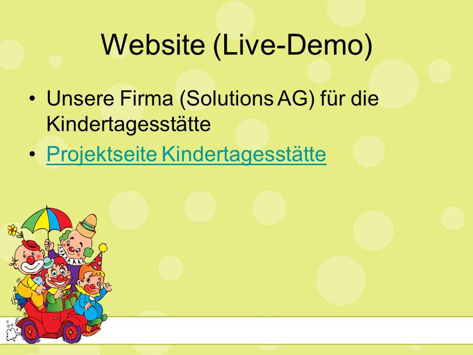 Website (Live-Demo) Unsere Firma (Solutions AG) für die Kindertagesstätte Projektseite Kindertagesstätte