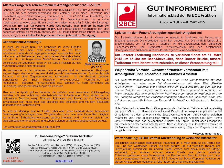 Gut Informiert.Informationsblatt der IG BCE Fraktion Ausgabe Nr.