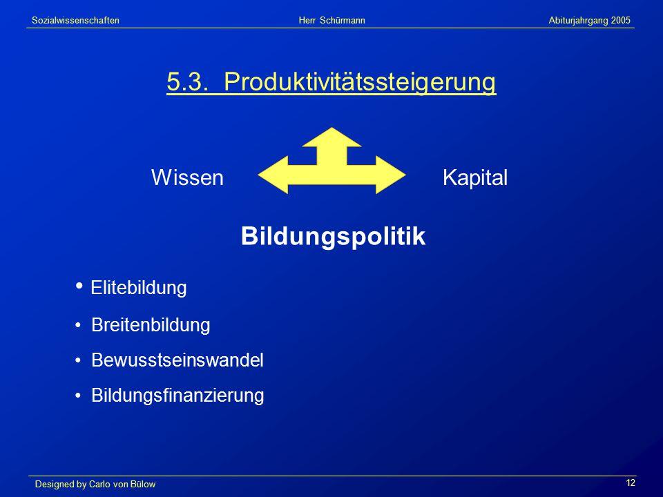 Sozialwissenschaften Herr Schürmann Abiturjahrgang 2005 Designed by Carlo von Bülow 12 5.3.
