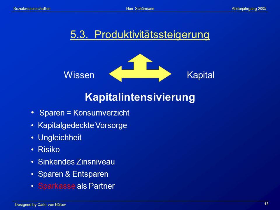 Sozialwissenschaften Herr Schürmann Abiturjahrgang 2005 Designed by Carlo von Bülow 13 5.3.
