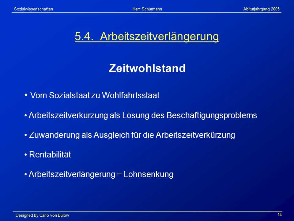 Sozialwissenschaften Herr Schürmann Abiturjahrgang 2005 Designed by Carlo von Bülow 14 5.4.