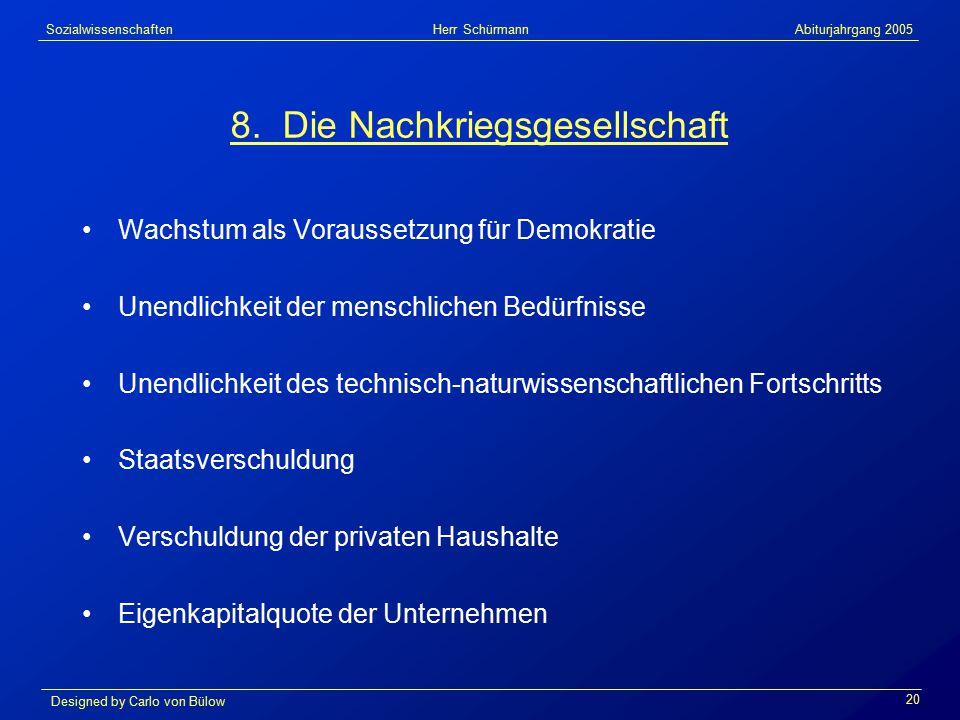 Sozialwissenschaften Herr Schürmann Abiturjahrgang 2005 Designed by Carlo von Bülow 20 8.