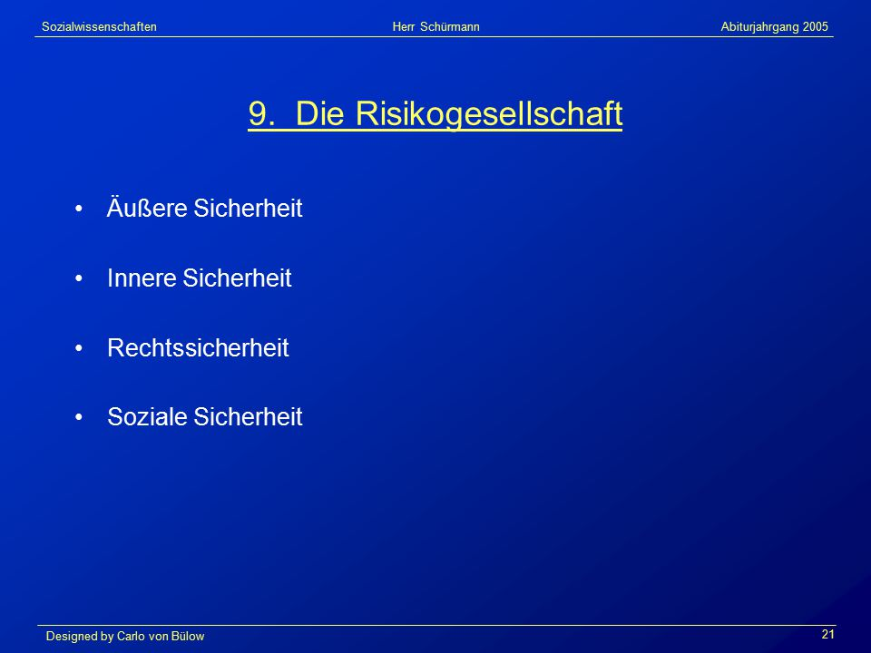 Sozialwissenschaften Herr Schürmann Abiturjahrgang 2005 Designed by Carlo von Bülow 21 9.