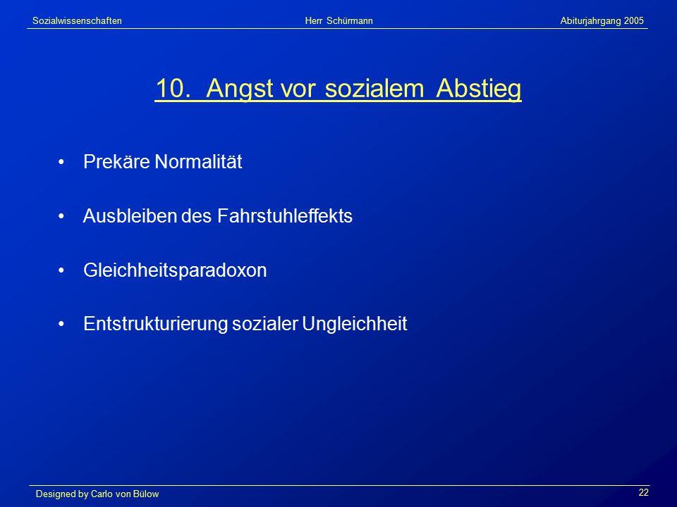Sozialwissenschaften Herr Schürmann Abiturjahrgang 2005 Designed by Carlo von Bülow 22 10.