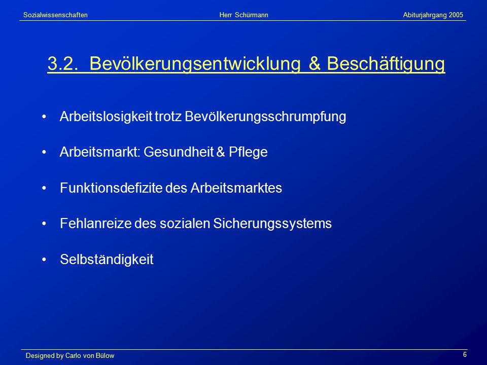 Sozialwissenschaften Herr Schürmann Abiturjahrgang 2005 Designed by Carlo von Bülow 6 3.2.