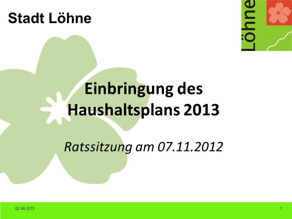 Stadt Löhne 02.04.20151 Einbringung des Haushaltsplans 2013 Ratssitzung am 07.11.2012
