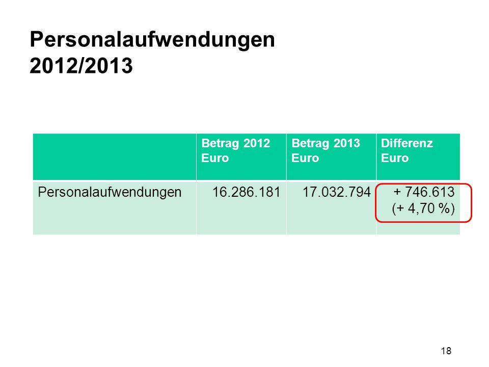 18 Personalaufwendungen 2012/2013 Betrag 2012 Euro Betrag 2013 Euro Differenz Euro Personalaufwendungen16.286.18117.032.794+ 746.613 (+ 4,70 %)