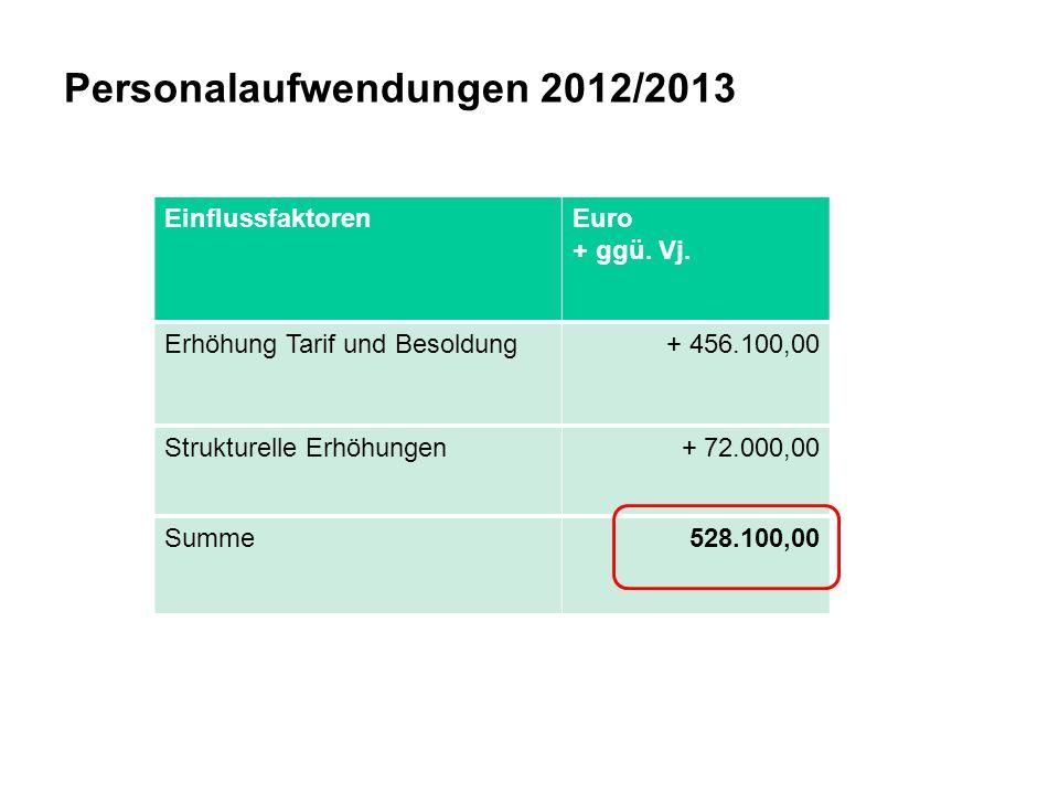 Personalaufwendungen 2012/2013 EinflussfaktorenEuro + ggü. Vj. Erhöhung Tarif und Besoldung+ 456.100,00 Strukturelle Erhöhungen + 72.000,00 Summe528.1