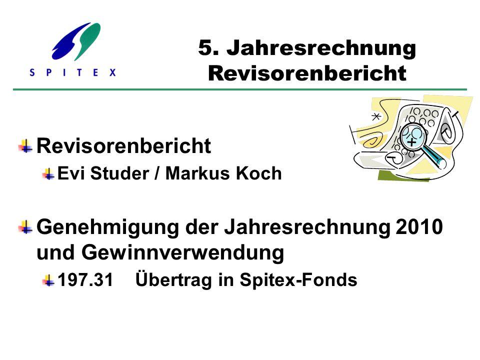 Revisorenbericht Evi Studer / Markus Koch Genehmigung der Jahresrechnung 2010 und Gewinnverwendung 197.31 Übertrag in Spitex-Fonds 5. Jahresrechnung R