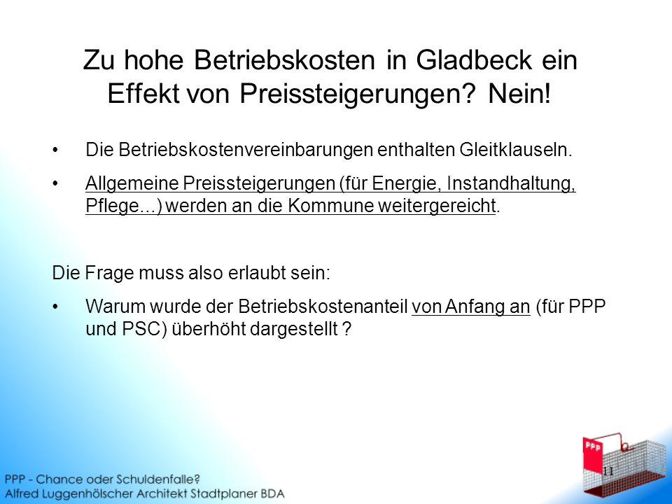 11 Zu hohe Betriebskosten in Gladbeck ein Effekt von Preissteigerungen.