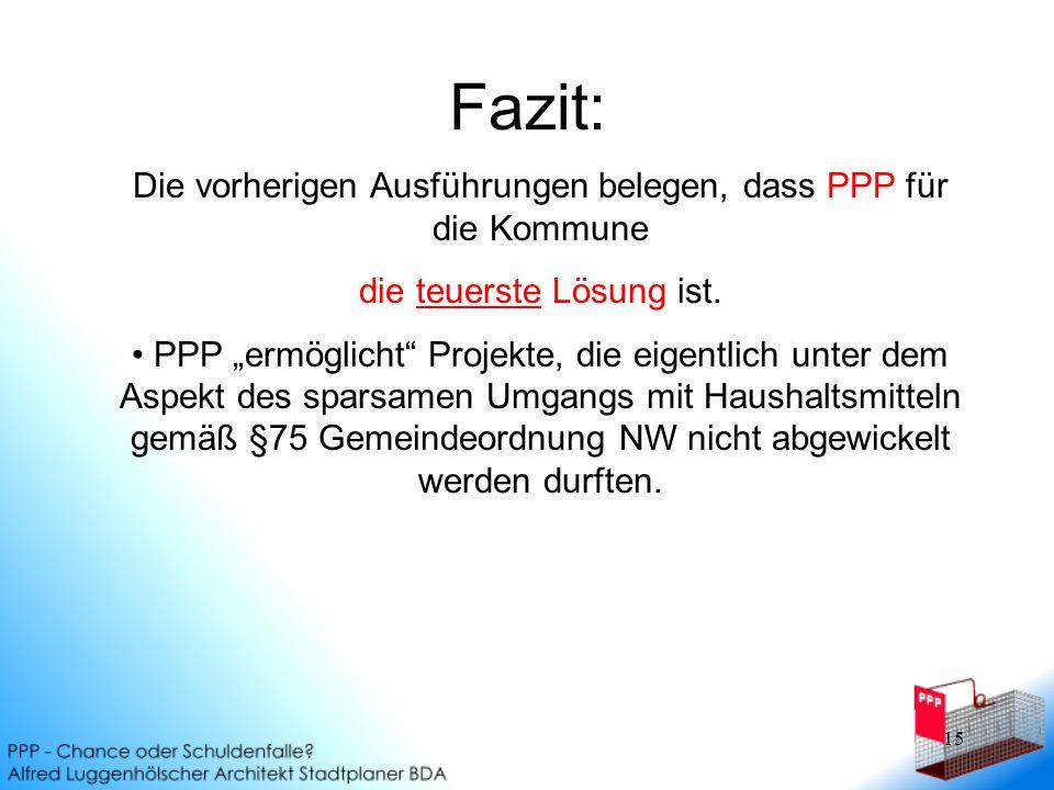 15 Fazit: Die vorherigen Ausführungen belegen, dass PPP für die Kommune die teuerste Lösung ist.