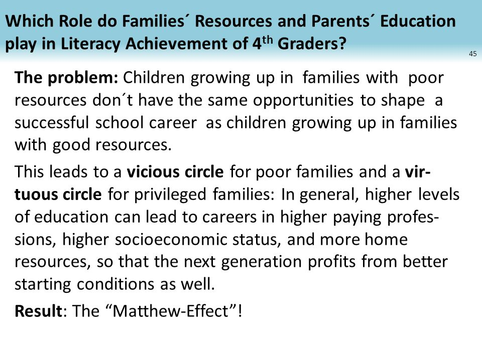 Which Role do Families´ Resources and Parents´ Education play in Literacy Achievement of 4 th Graders.