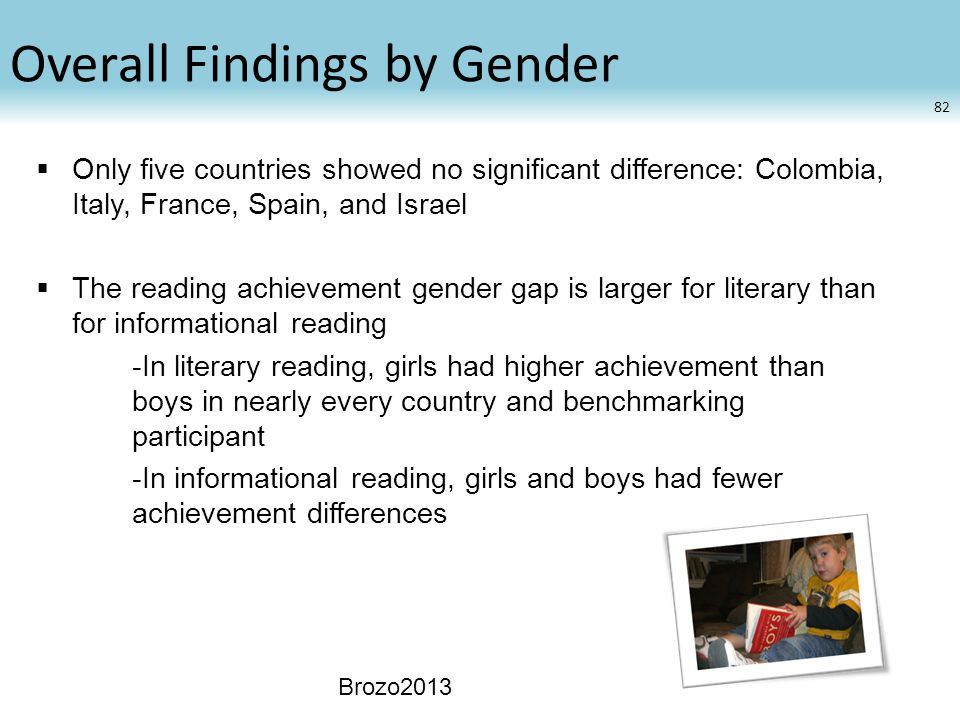 Overall Findings by Gender  Only five countries showed no significant difference: Colombia, Italy, France, Spain, and Israel  The reading achievement gender gap is larger for literary than for informational reading -In literary reading, girls had higher achievement than boys in nearly every country and benchmarking participant -In informational reading, girls and boys had fewer achievement differences Brozo