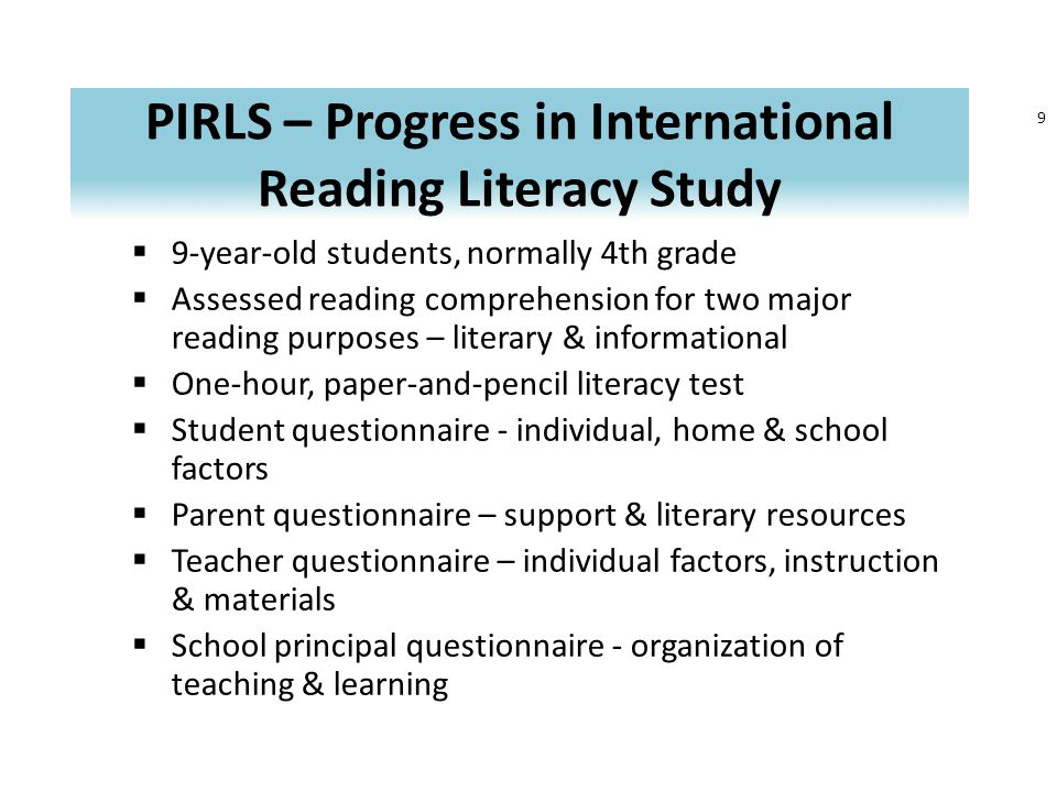 Trends in Overall Reading Achievement by Gender for the United States over three PIRLS cycles 580 520 551 545 562 533 535 551 200120062011 United States 90 1810 11 Boys Girls Mullis, I.V.S., Martin, M.O., Fay, P., & Drucker, K.