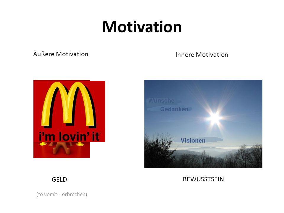 Motivation Äußere Motivation Innere Motivation GELD BEWUSSTSEIN (to vomit = erbrechen)