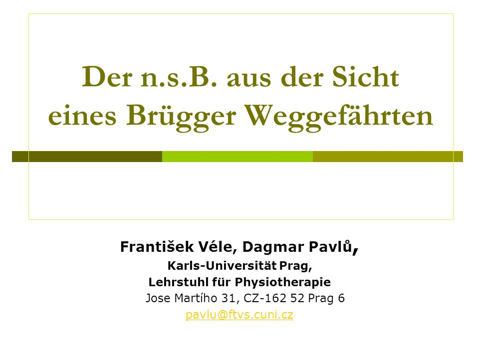 Der n.s.B. aus der Sicht eines Brügger Weggefährten František Véle, Dagmar Pavlů, Karls-Universität Prag, Lehrstuhl für Physiotherapie Jose Martího 31