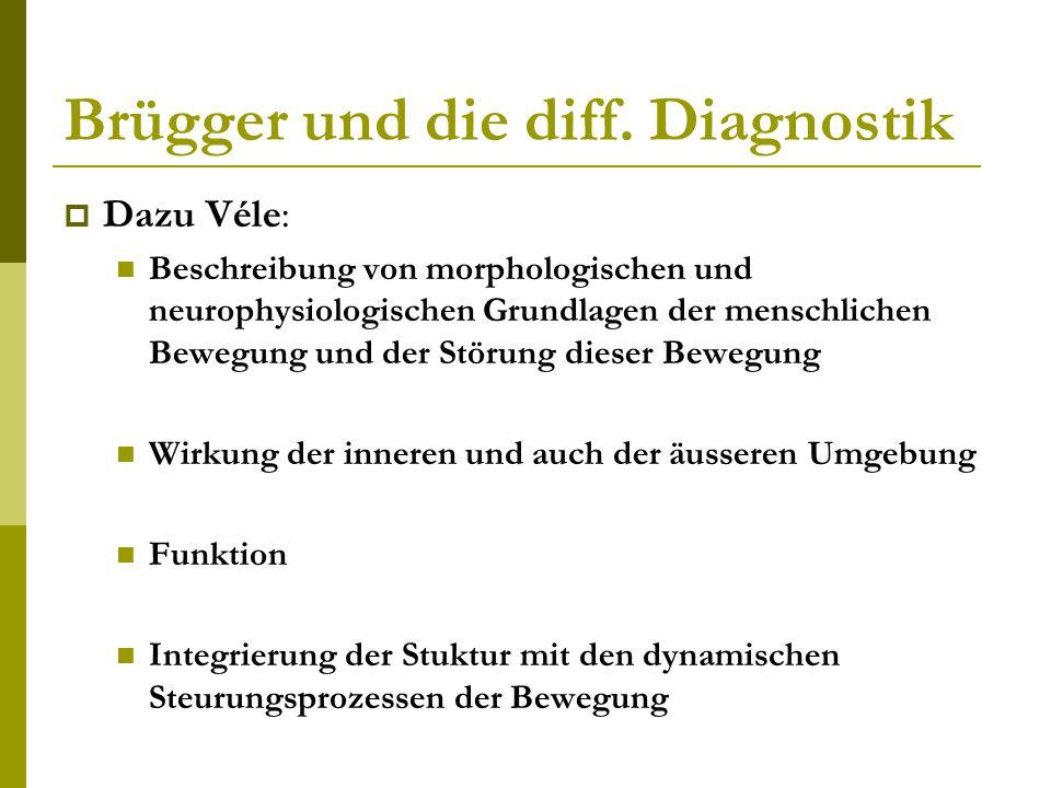 Brügger und die diff. Diagnostik  Dazu Véle: Beschreibung von morphologischen und neurophysiologischen Grundlagen der menschlichen Bewegung und der S