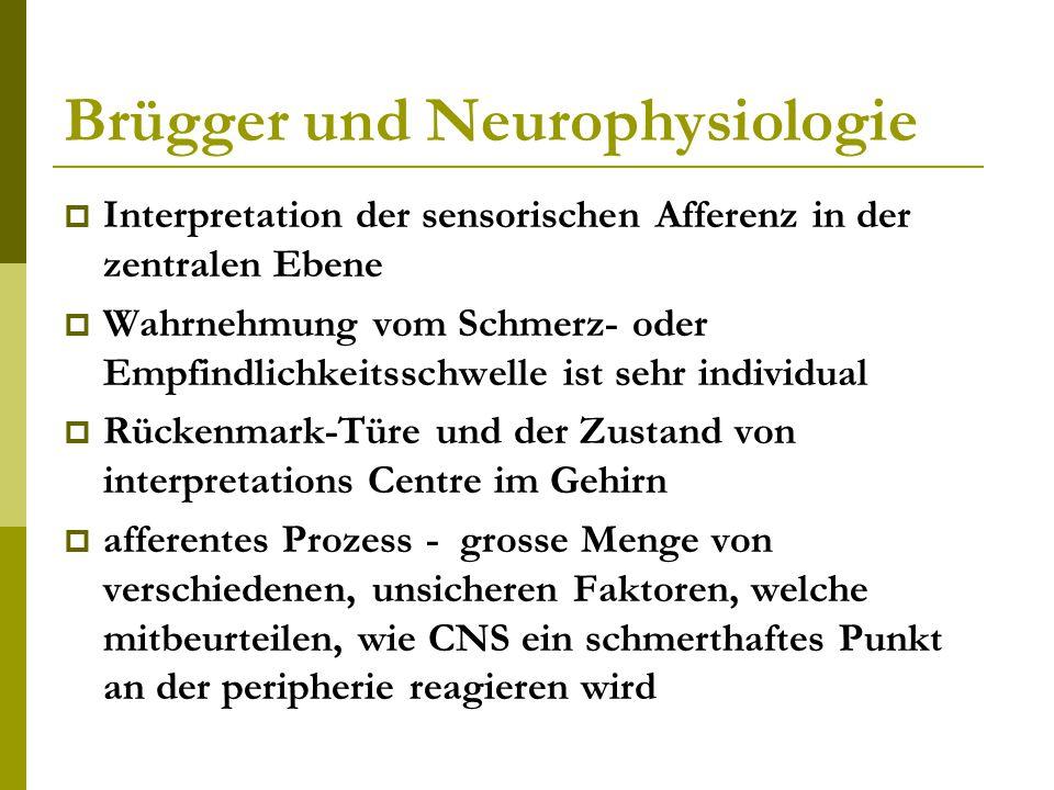 Brügger und Neurophysiologie  Interpretation der sensorischen Afferenz in der zentralen Ebene  Wahrnehmung vom Schmerz- oder Empfindlichkeitsschwelle ist sehr individual  Rückenmark-Türe und der Zustand von interpretations Centre im Gehirn  afferentes Prozess - grosse Menge von verschiedenen, unsicheren Faktoren, welche mitbeurteilen, wie CNS ein schmerthaftes Punkt an der peripherie reagieren wird
