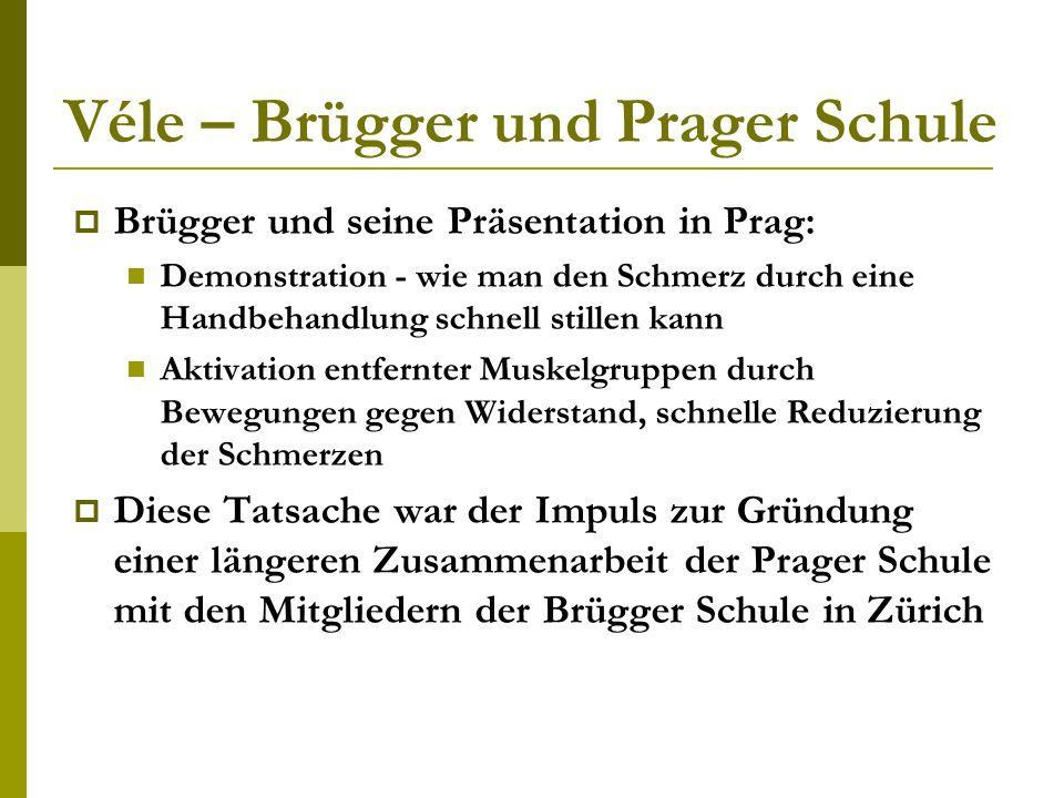 Véle – Brügger und Prager Schule  Brügger und seine Präsentation in Prag: Demonstration - wie man den Schmerz durch eine Handbehandlung schnell still