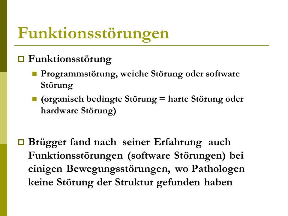Funktionsstörungen  Funktionsstörung Programmstörung, weiche Störung oder software Störung (organisch bedingte Störung = harte Störung oder hardware