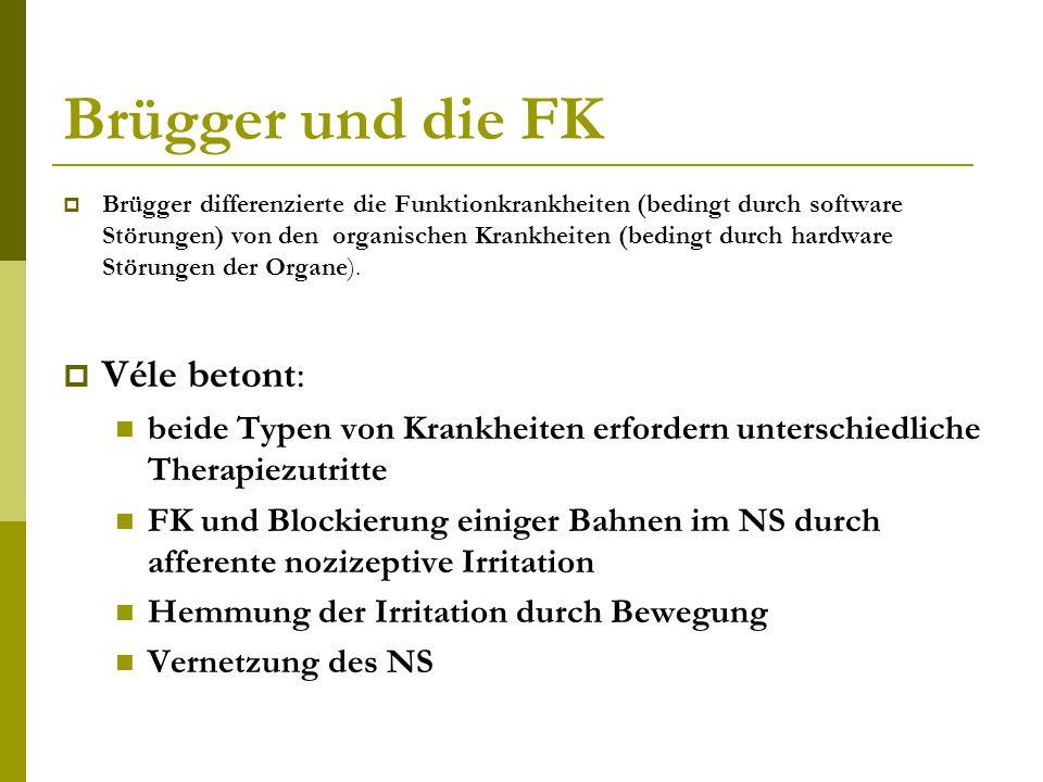 Brügger und die FK  Brügger differenzierte die Funktionkrankheiten (bedingt durch software Störungen) von den organischen Krankheiten (bedingt durch hardware Störungen der Organe).
