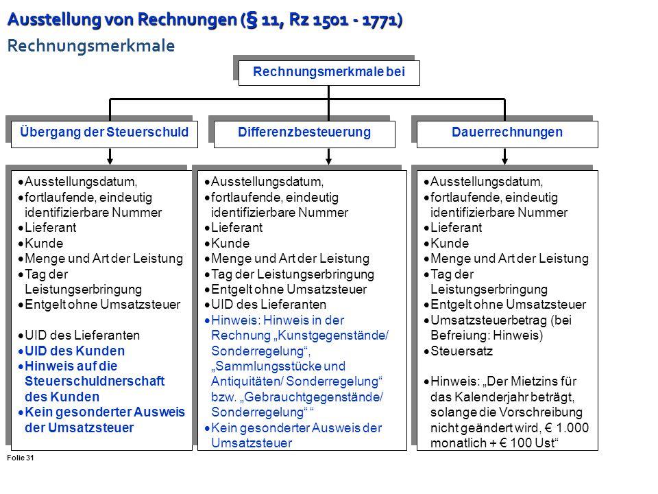 Ausstellung von Rechnungen (§ 11, Rz 1501 - 1771) Ausstellung von Rechnungen (§ 11, Rz 1501 - 1771) Folie 30 Zustimmung des Leistungsempfängers ist er