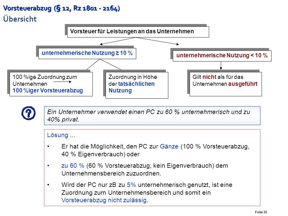 Folie 34 Vorsteuerabzug (§ 12, Rz 1801 - 2164) Vorsteuerabzug (§ 12, Rz 1801 - 2164) Allgemeines zum Vorsteuerabzug Unternehmereigenschaft des Leistun
