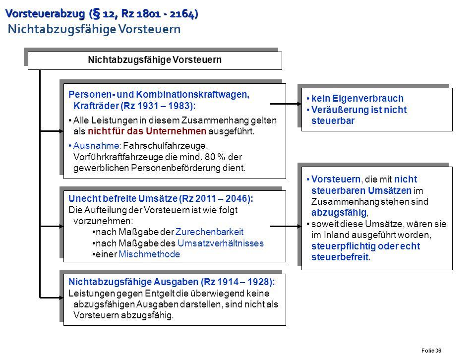 Folie 35 Vorsteuerabzug (§ 12, Rz 1801 - 2164) Vorsteuerabzug (§ 12, Rz 1801 - 2164) Übersicht Vorsteuer für Leistungen an das Unternehmen unternehmer