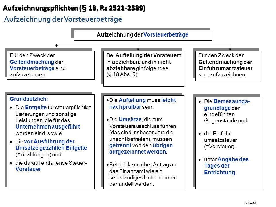 Folie 43 Aufzeichnungspflichten (§ 18, Rz 2521 - 2589) Aufzeichnungspflichten (§ 18, Rz 2521 - 2589) Aufzeichnung der Umsatzsteuerbeträge Inlandsliefe