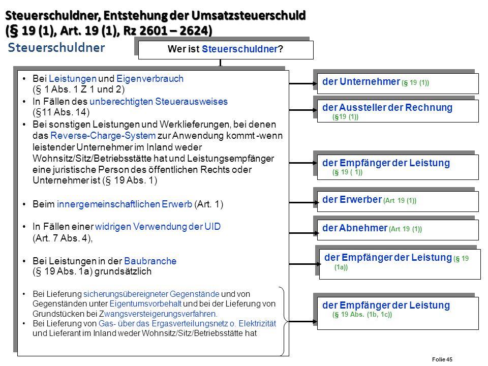 Folie 44 Aufzeichnungspflichten (§ 18, Rz 2521-2589) Aufzeichnungspflichten (§ 18, Rz 2521-2589) Aufzeichnung der Vorsteuerbeträge Aufzeichnung der Vo