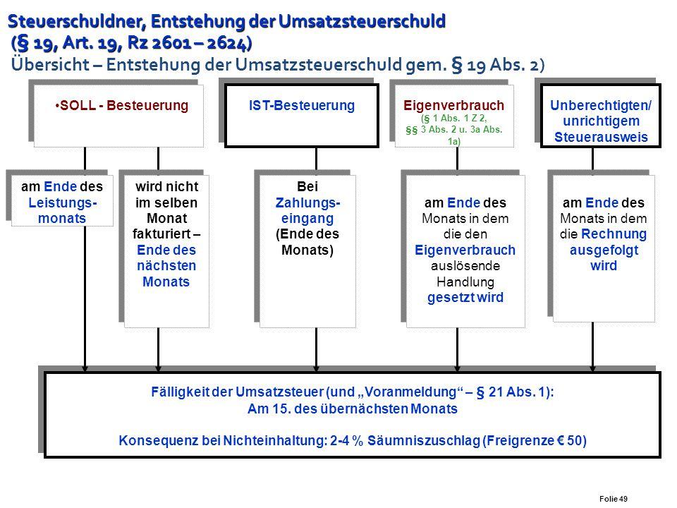 Folie 48 Steuerschuldner, Entstehung der Steuerschuld (§ 19, Art. 19, Rz 2601 – 2624) Steuerschuldner, Entstehung der Steuerschuld (§ 19, Art. 19, Rz