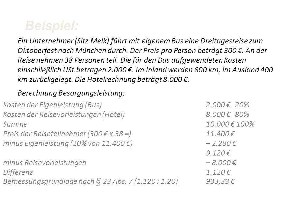 Besteuerung –Bemessung: Differenz zwischen Reisevorleistung an den Veranstalter und Preis –Pauschalierung 10% Bemessung –Kein VOST-Abzug für Reisevorl