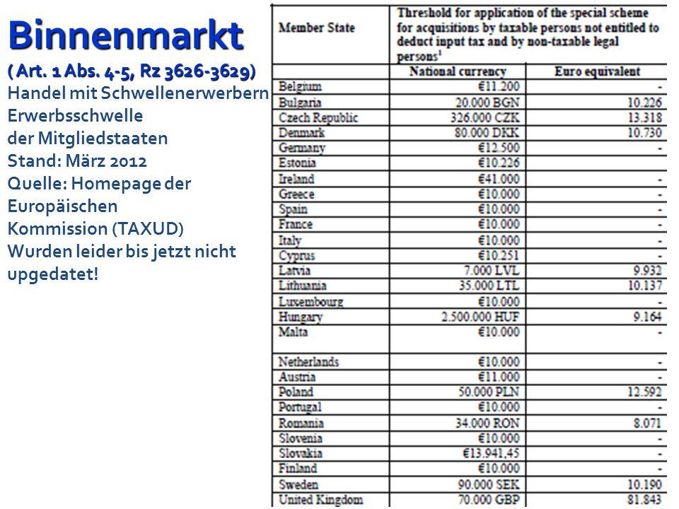 Folie 78 Binnenmarkt ( Art. 1 Abs. 4-5, Rz 3626-3629) Binnenmarkt ( Art. 1 Abs. 4-5, Rz 3626-3629) Erwerbsschwelle Ab dem Entgelt für den Erwerb, mit