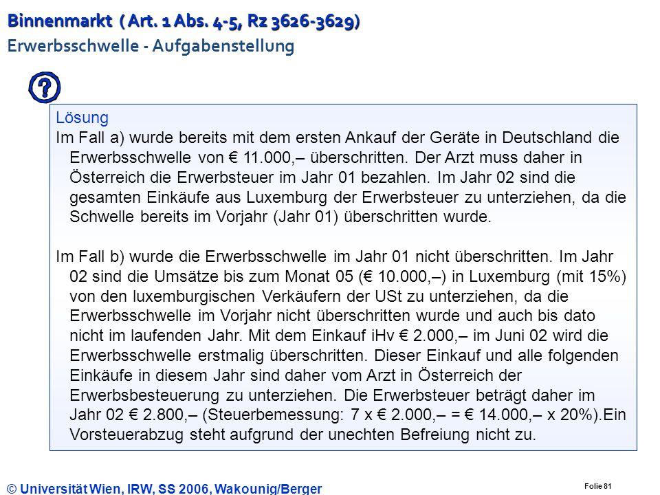 Folie 80 © Universität Wien, IRW, SS 2006, Wakounig/Berger Binnenmarkt ( Art. 1 Abs. 4-5, Rz 3626-3629) Binnenmarkt ( Art. 1 Abs. 4-5, Rz 3626-3629) E