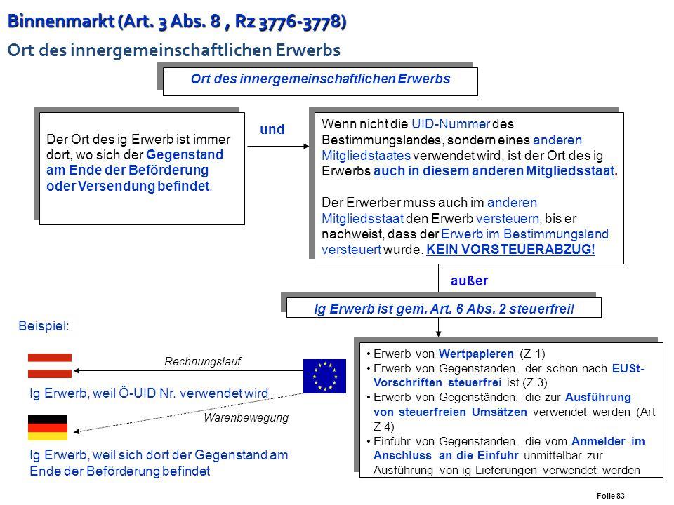 Folie 82 Binnenmarkt ( Art. 2, Rz 3643-3677) Binnenmarkt ( Art. 2, Rz 3643-3677) Innergemeinschaftliche Lieferung neuer Fahrzeuge Ig Lieferung (Bestim